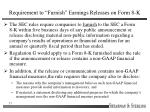 requirement to furnish earnings releases on form 8 k