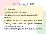 hiv testing in nd
