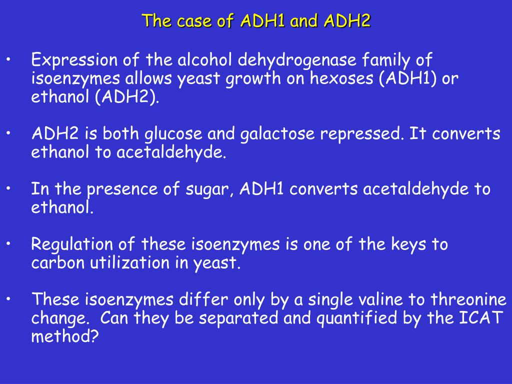 The case of ADH1 and ADH2