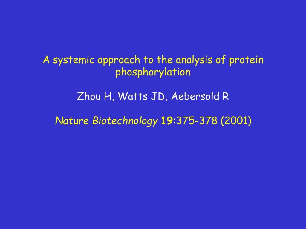 A systemic approach to the analysis of protein phosphorylation