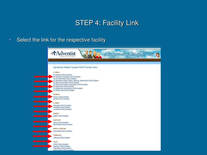 Select the link for the respective facility