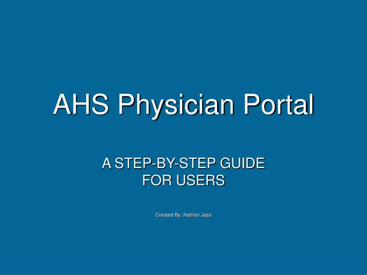 ahs physician portal n.