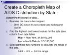 create a choropleth map of aids distribution by state