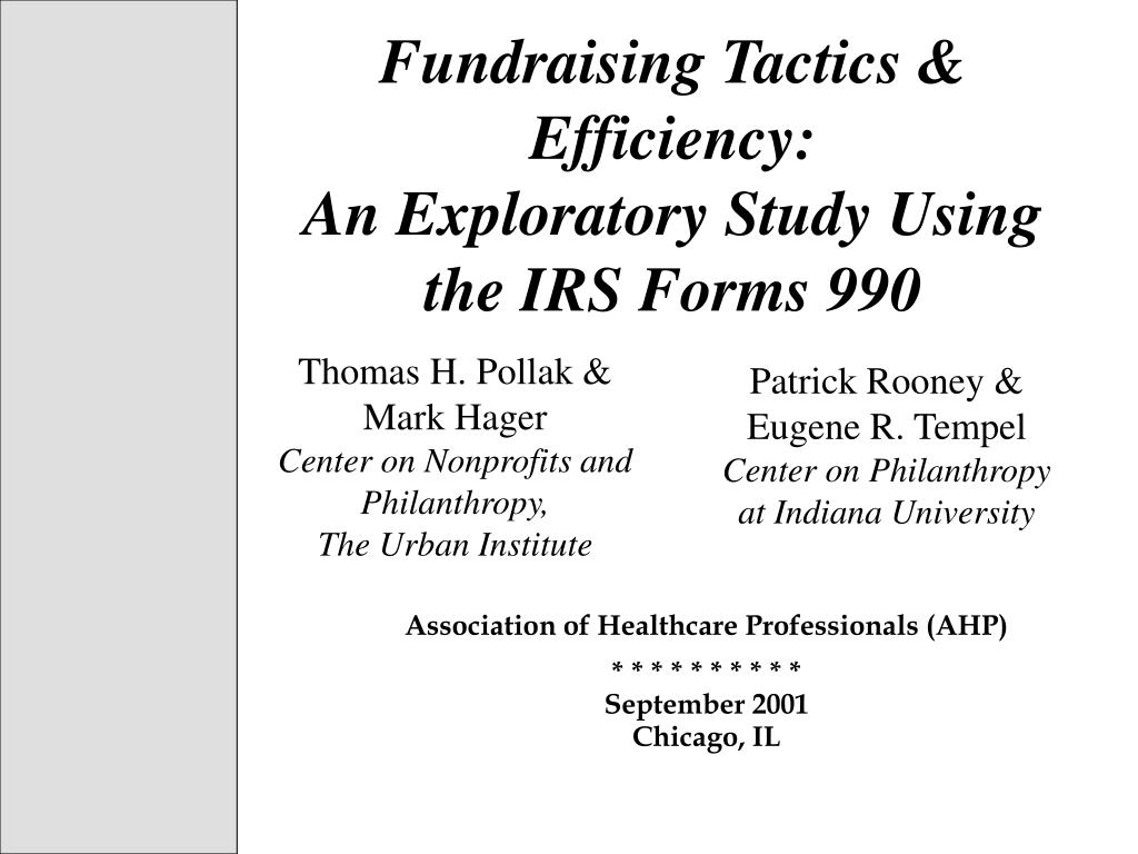 fundraising tactics efficiency an exploratory study using the irs forms 990 l.