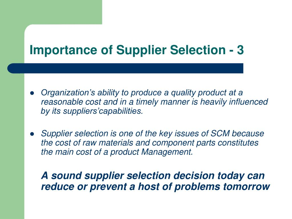PPT - Supplier Evaluation and Selection PowerPoint Presentation - ID