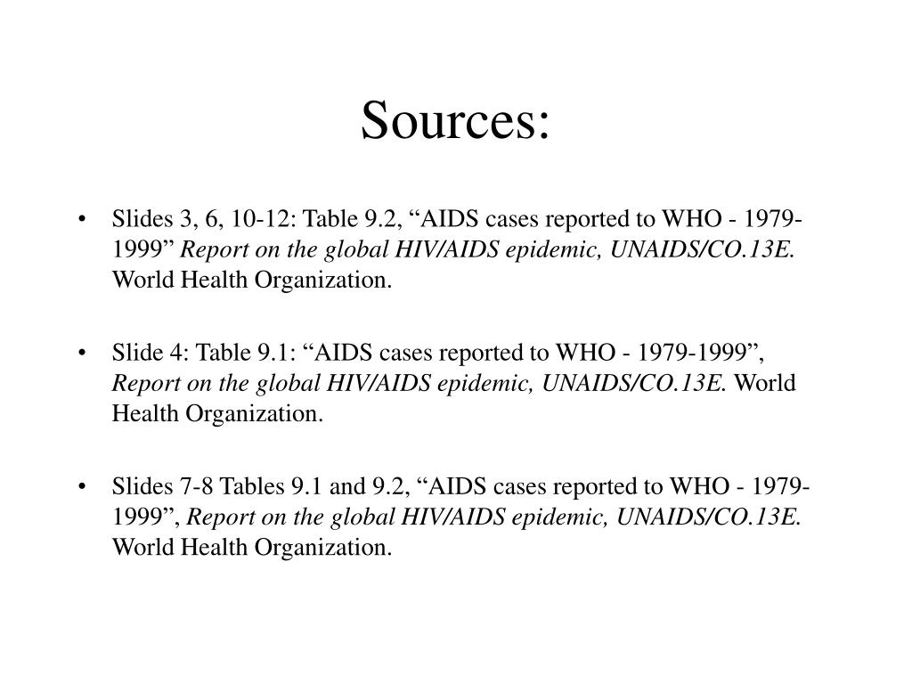 "Slides 3, 6, 10-12: Table 9.2, ""AIDS cases reported to WHO - 1979-1999"""