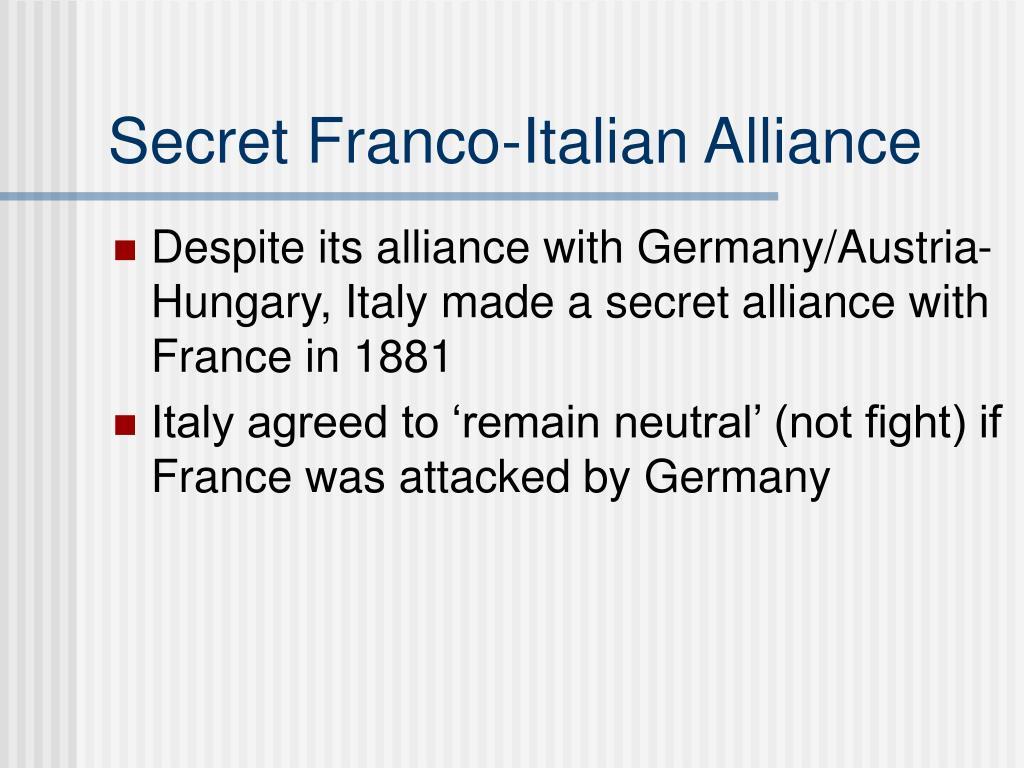 Secret Franco-Italian Alliance