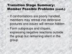 transition stage summary member possible problems cont