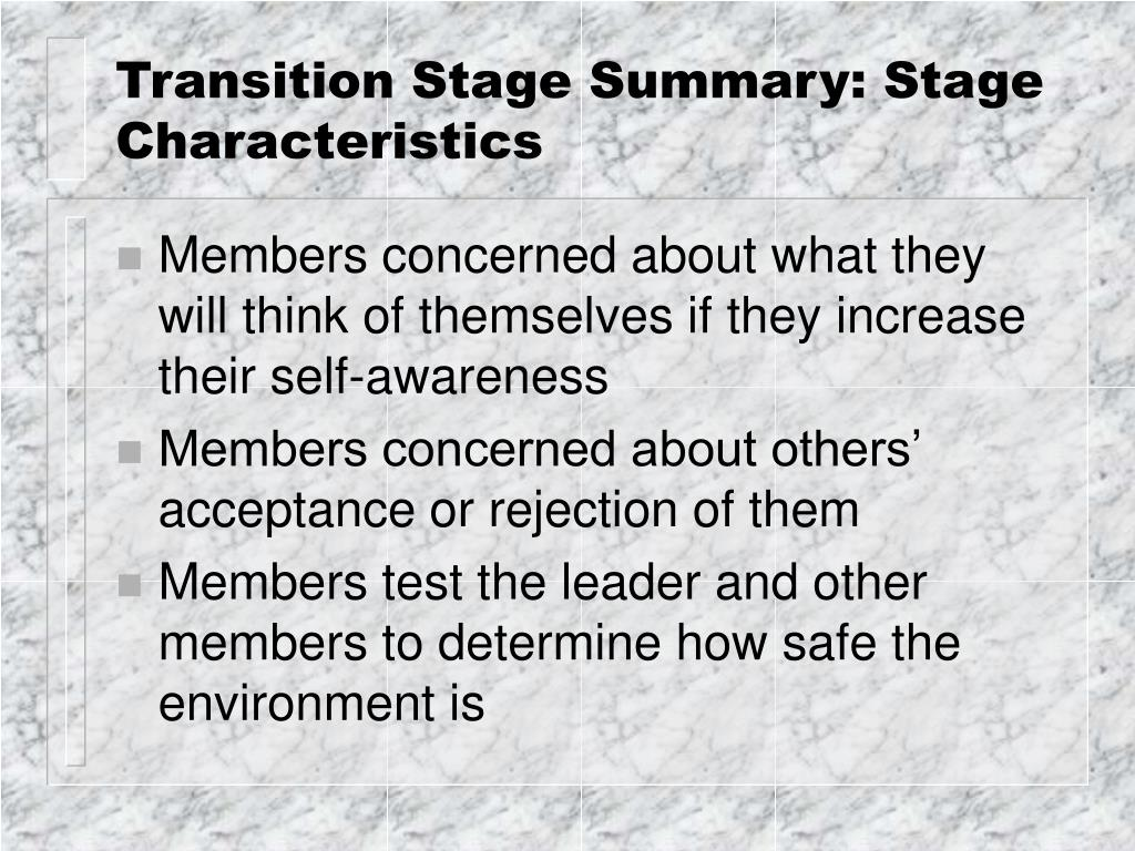 transition stages of a group