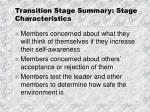 transition stage summary stage characteristics