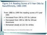 figure 3 4 reading scores of 9 year olds by race ethnicity 1980 199971