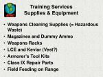 training services supplies equipment