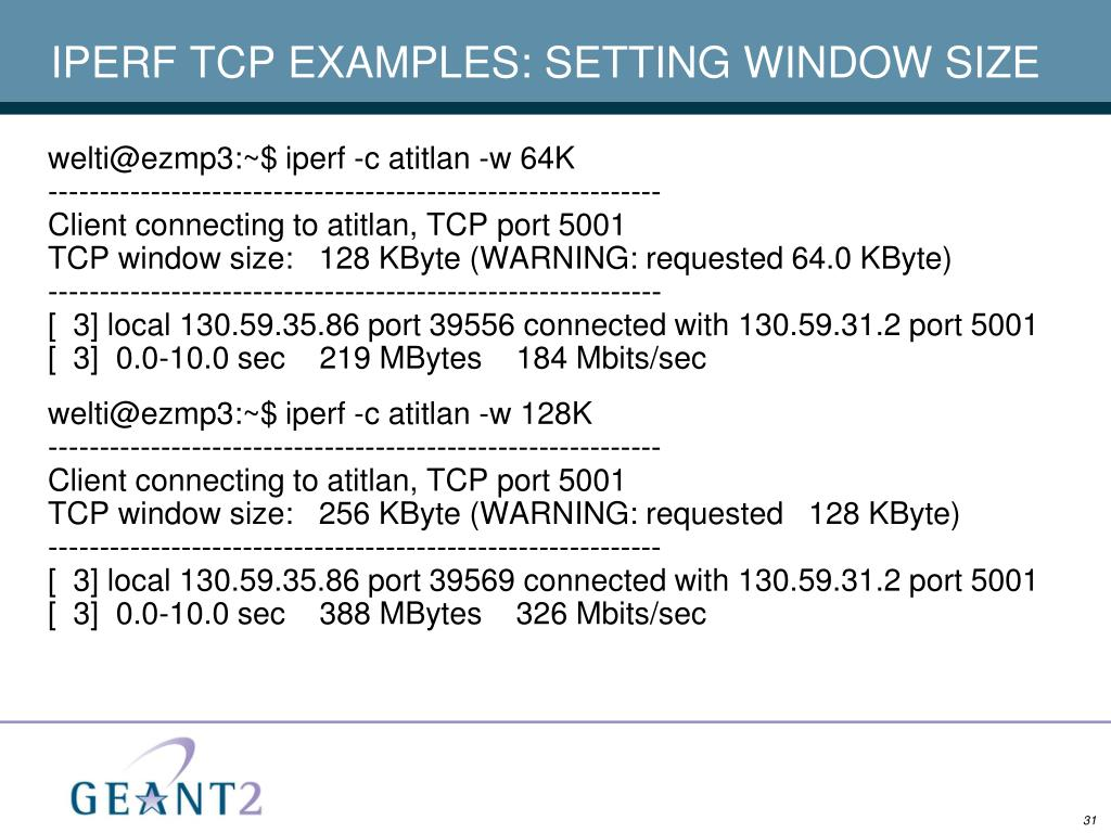 IPERF TCP EXAMPLES: SETTING WINDOW SIZE