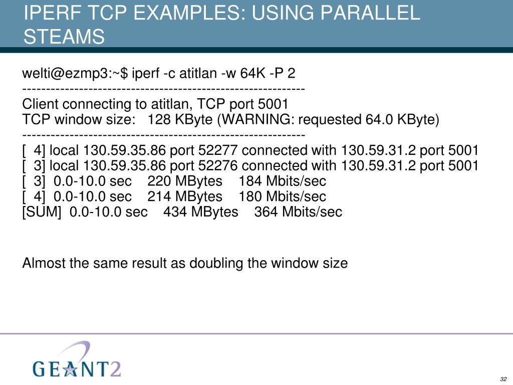 IPERF TCP EXAMPLES: USING PARALLEL STEAMS