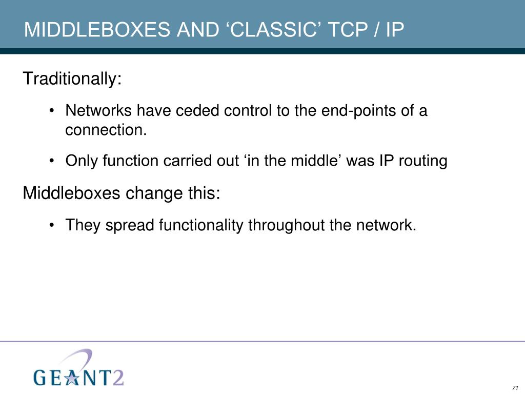 MIDDLEBOXES AND 'CLASSIC' TCP / IP