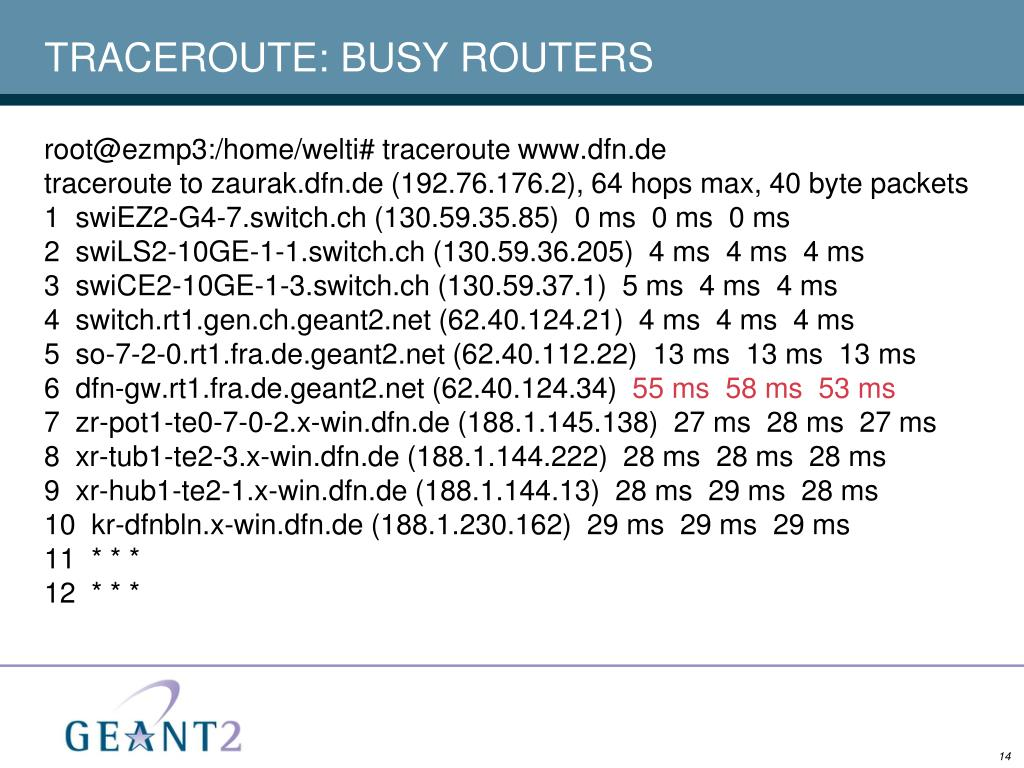 TRACEROUTE: BUSY ROUTERS