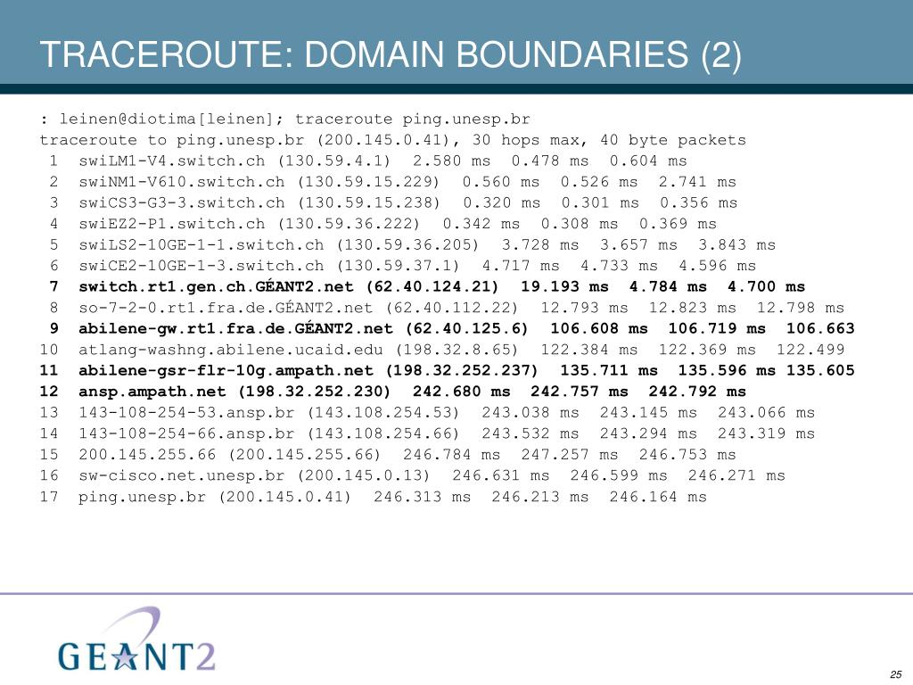 TRACEROUTE: DOMAIN BOUNDARIES (2)