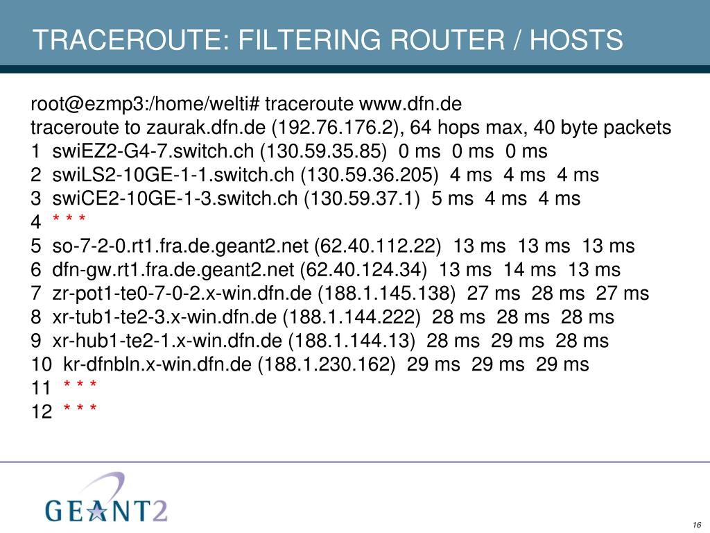 TRACEROUTE: FILTERING ROUTER / HOSTS