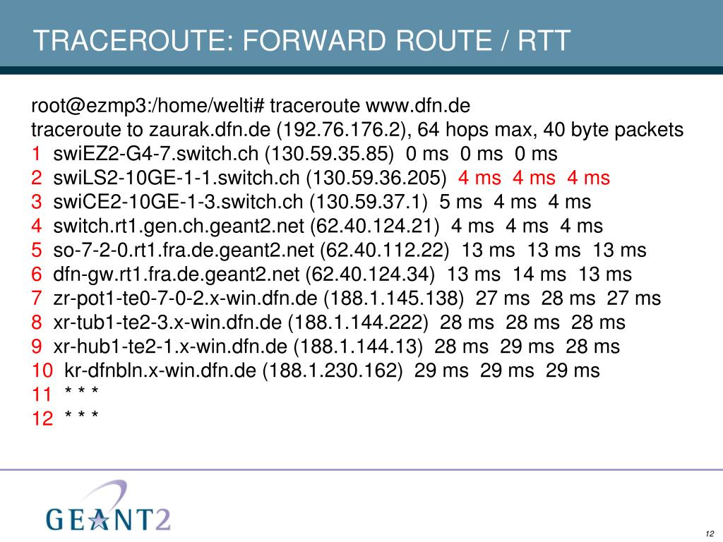 TRACEROUTE: FORWARD ROUTE / RTT