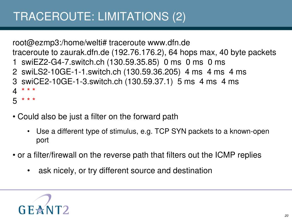 TRACEROUTE: LIMITATIONS (2)
