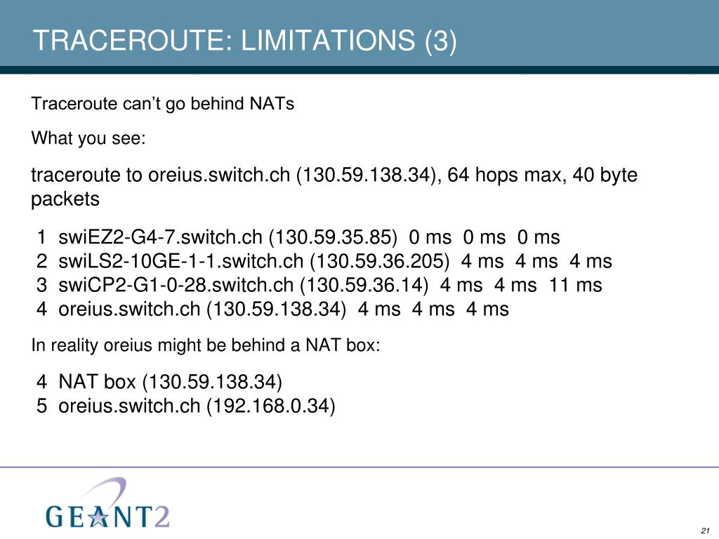 TRACEROUTE: LIMITATIONS (3)
