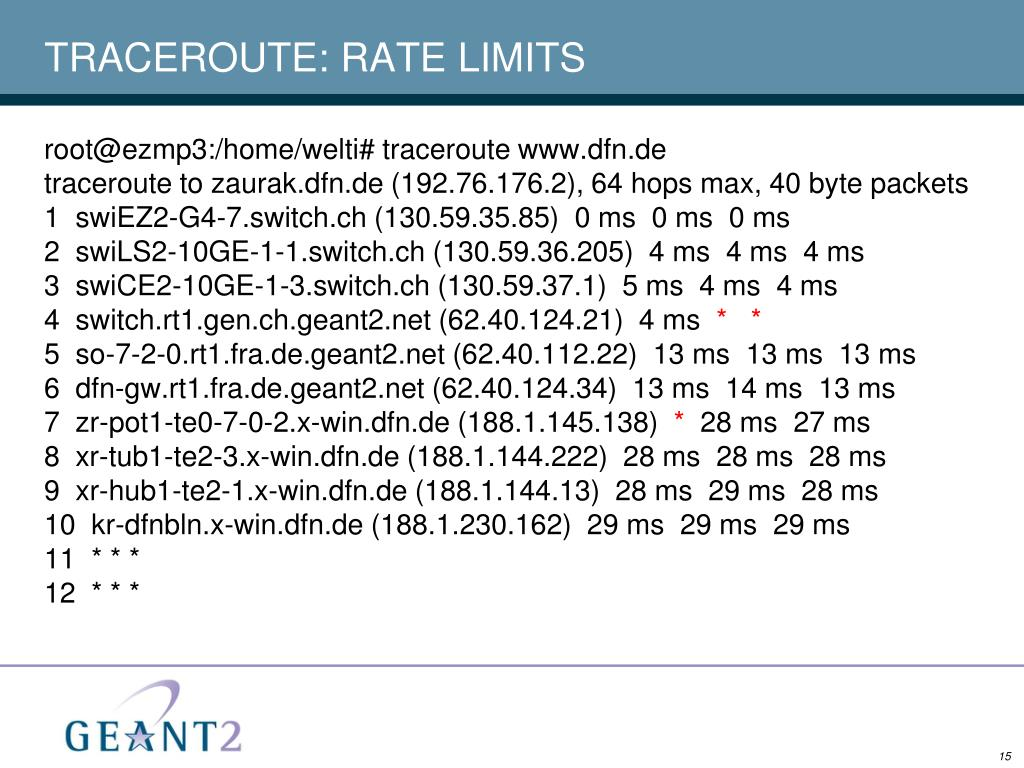 TRACEROUTE: RATE LIMITS