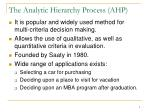 the analytic hierarchy process ahp