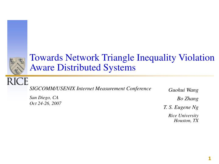 Towards Network Triangle Inequality Violation Aware Distributed Systems