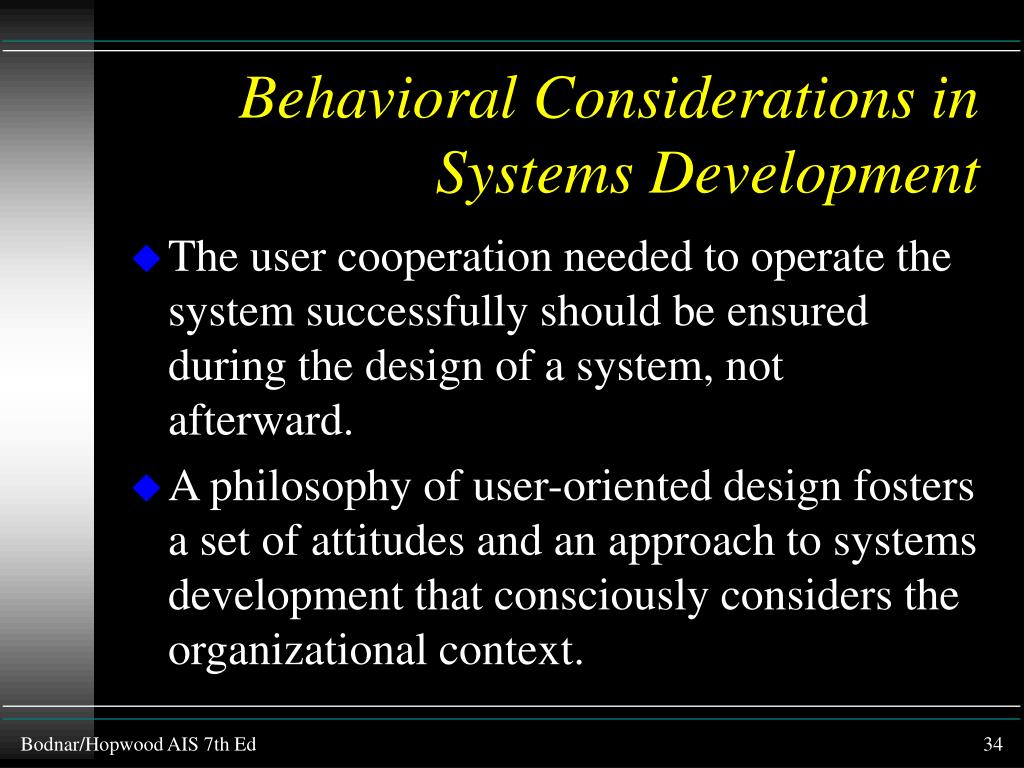 Behavioral Considerations in Systems Development
