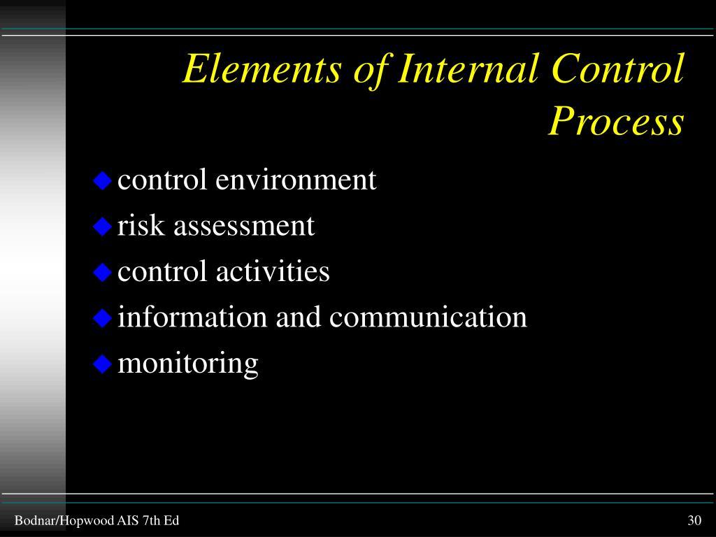 Elements of Internal Control Process