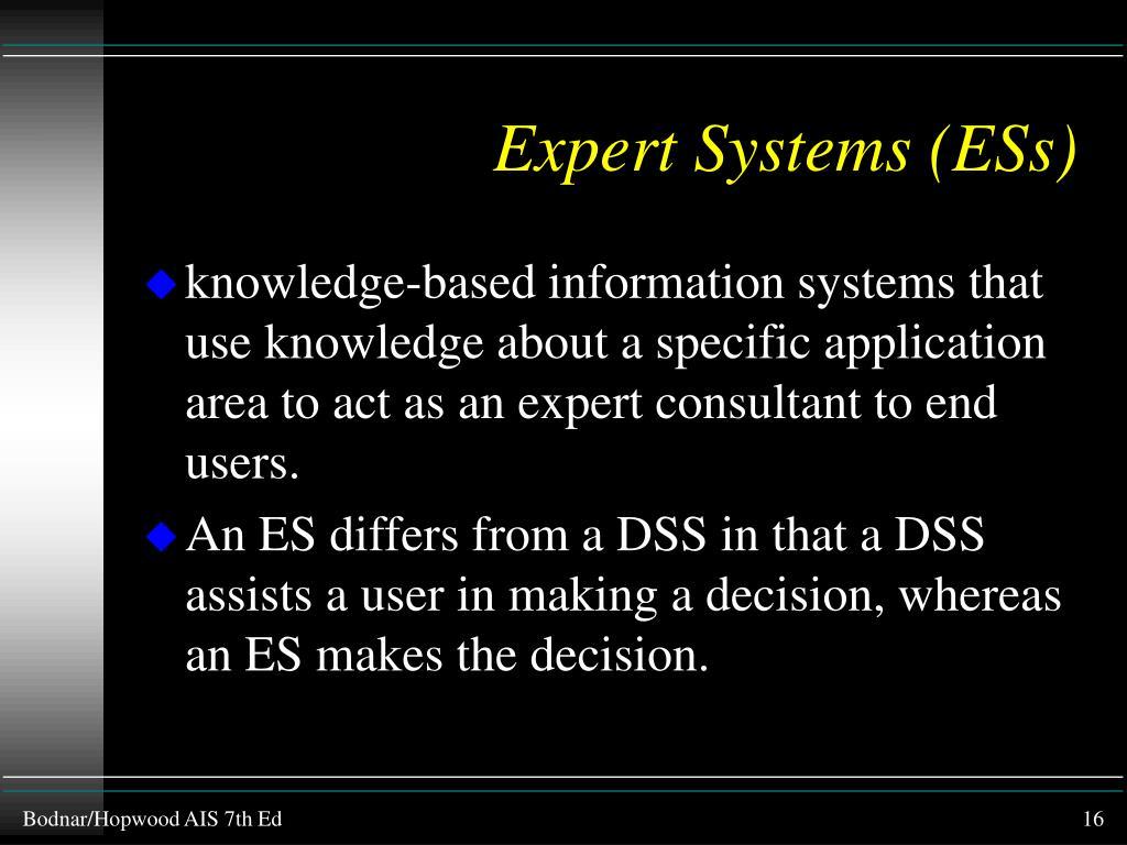 Expert Systems (ESs)