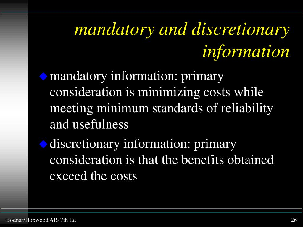 mandatory and discretionary information
