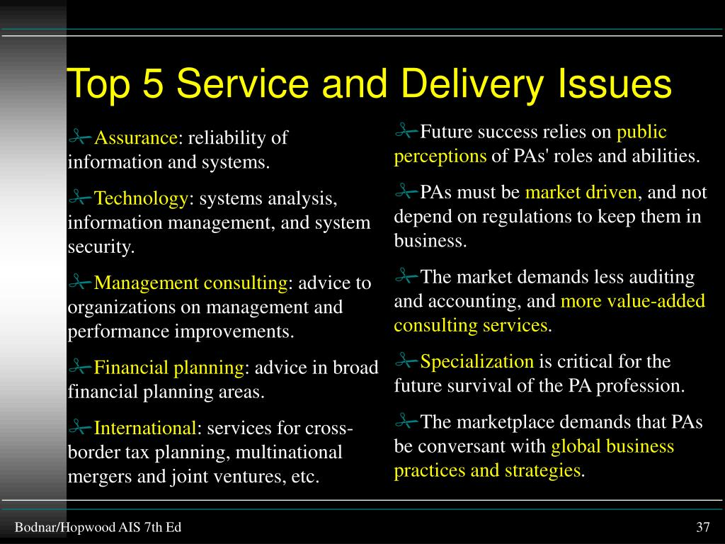 Top 5 Service and Delivery Issues