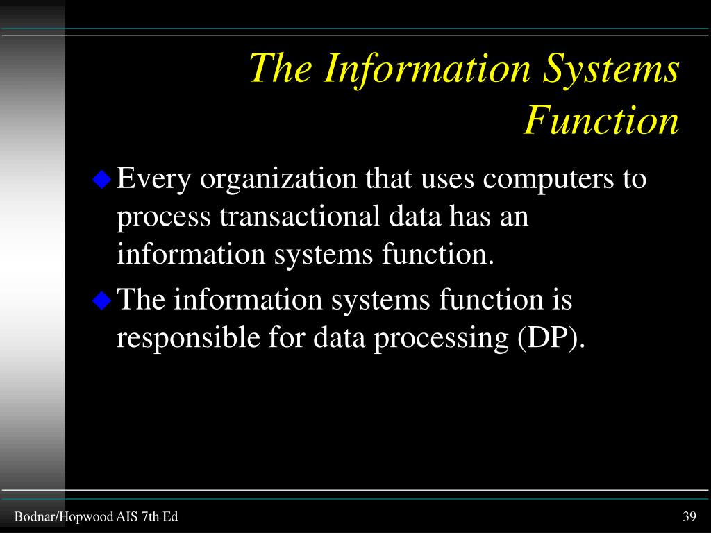 The Information Systems Function