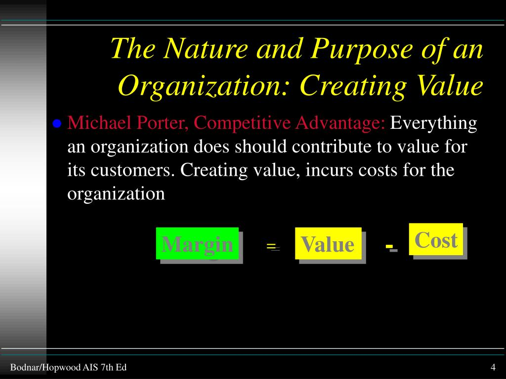 The Nature and Purpose of an Organization: Creating Value