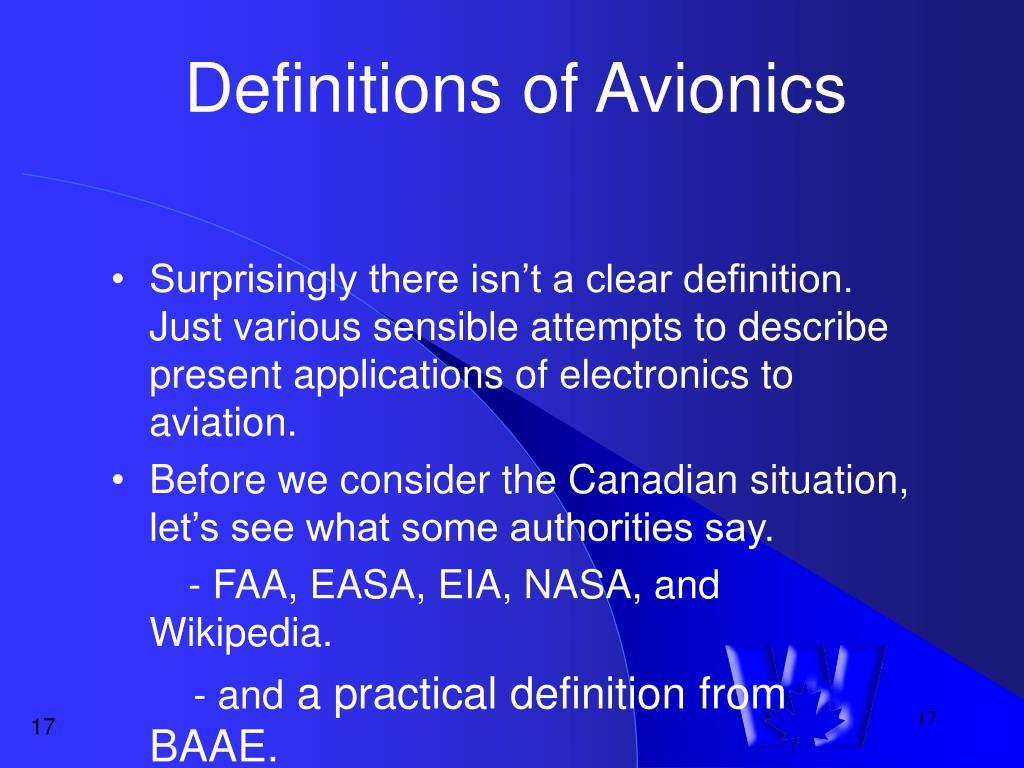 Definitions of Avionics
