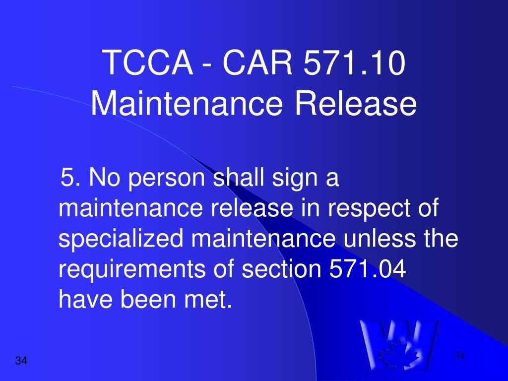 TCCA - CAR 571.10