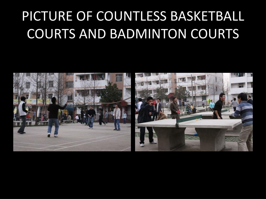 PICTURE OF COUNTLESS BASKETBALL COURTS AND BADMINTON COURTS