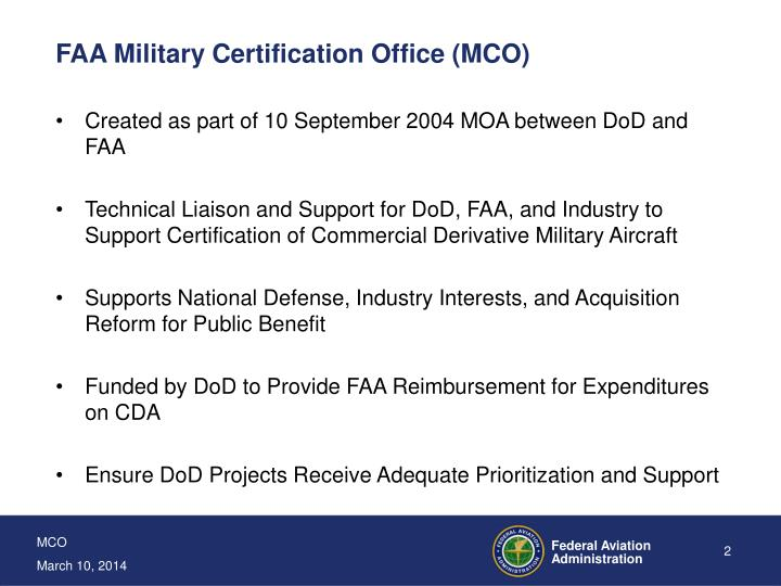 Faa military certification office mco