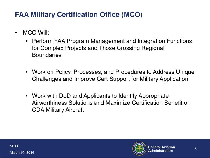 Faa military certification office mco3