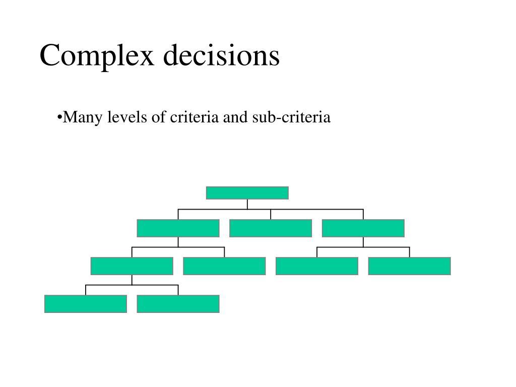 Complex decisions