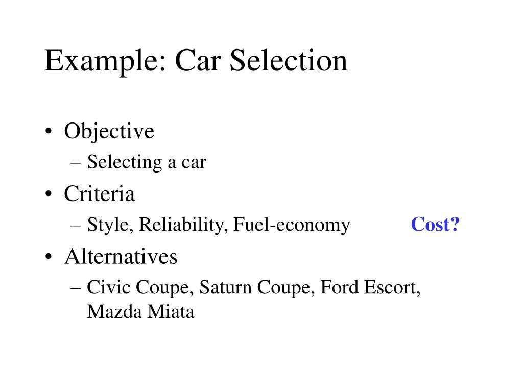 Example: Car Selection