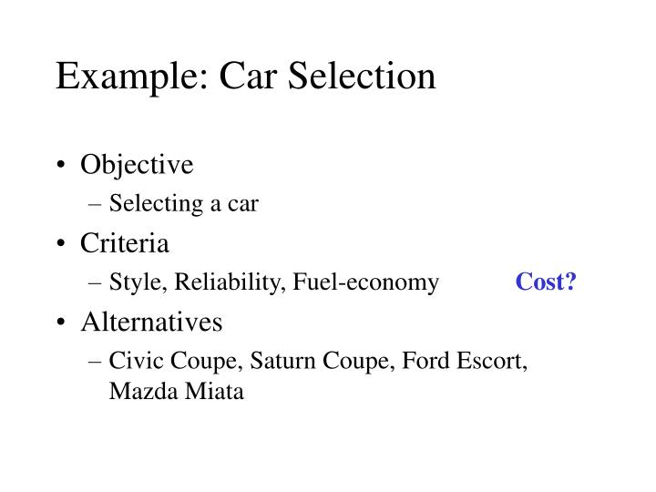 Example car selection