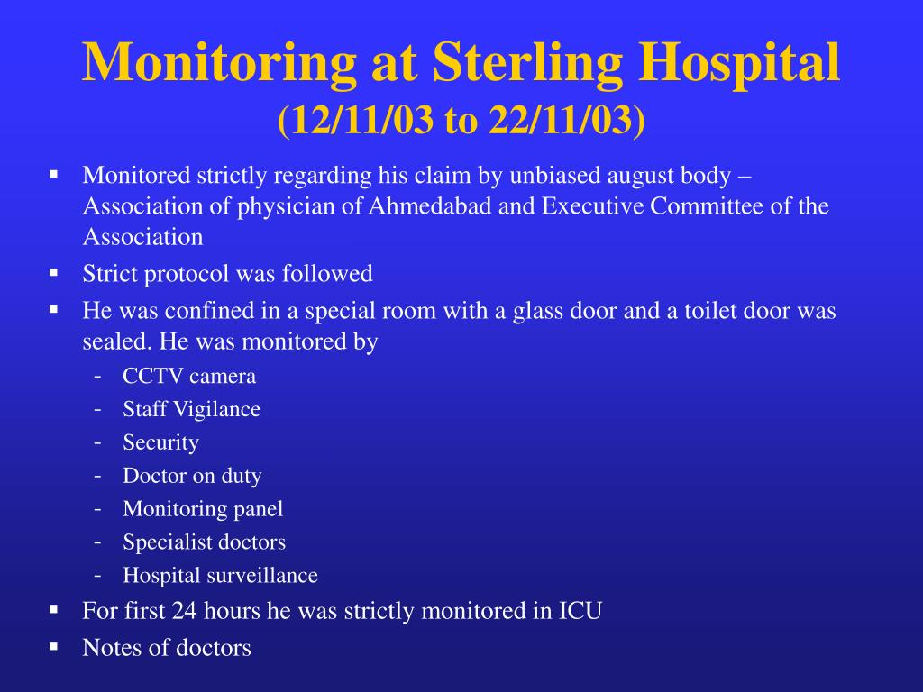 Monitoring at Sterling Hospital