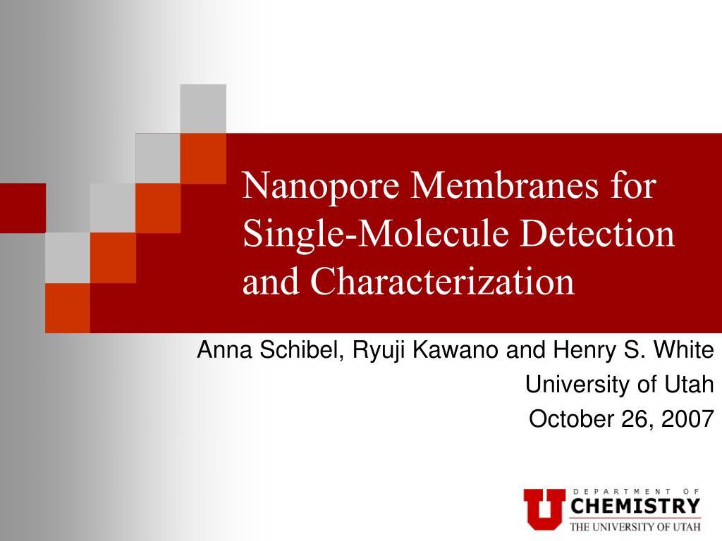 nanopore membranes for single molecule detection and characterization l.