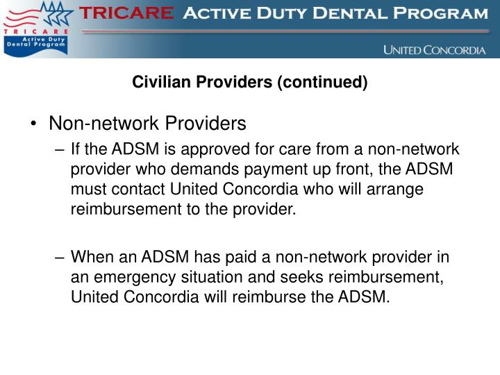 Civilian Providers (continued)