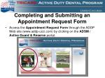 completing and submitting an appointment request form