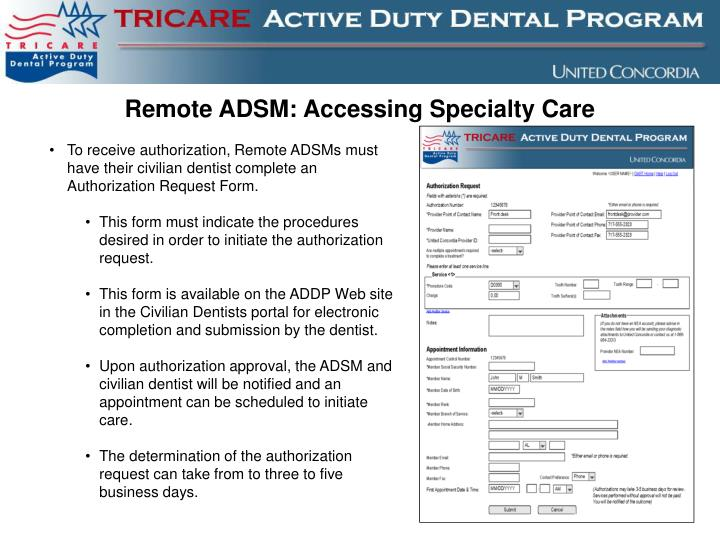 Remote ADSM: Accessing Specialty Care