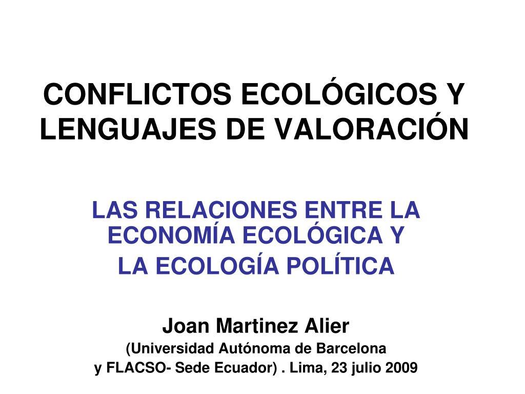 conflictos ecol gicos y lenguajes de valoraci n l.