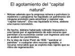 el agotamiento del capital natural